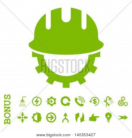 Development Hardhat vector icon. Image style is a flat pictogram symbol, eco green color, white background.