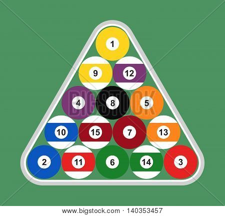 Flat set of billiard balls arranged in a gray triangle. Vector illustration.