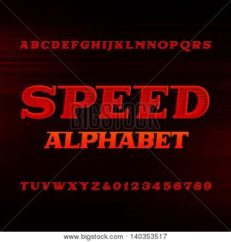 Speed alphabet font. Oblique dynamic letters and numbers on a dark background. Vector typefset for your design.