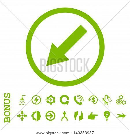 Down-Left Rounded Arrow vector icon. Image style is a flat pictogram symbol, eco green color, white background.