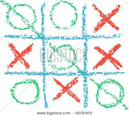 Hand Drawn Tic Tac Toe Game, vector format