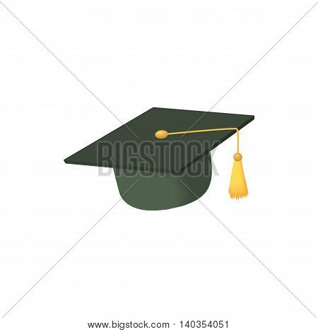 Hat student icon in cartoon style isolated on white background. Headdress symbol