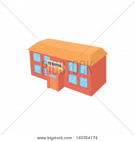 School building icon in cartoon style isolated on white background. Study symbol