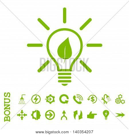 Eco Light Bulb vector icon. Image style is a flat pictogram symbol, eco green color, white background.