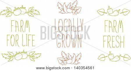 Hand drawn sketched typography elements with lettering Farm for live,  Locally grown, Farm fresh, vegetables. Thin line on white, vector illustration