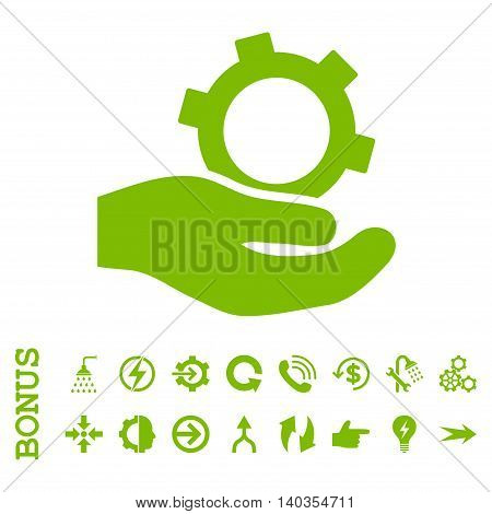 Engineering Service vector icon. Image style is a flat pictogram symbol, eco green color, white background.