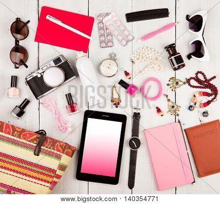 Tablet Pc, Camera, Passport, Straw Bag, Notepads, Sunglasses, Watch, Headphones, Pills, Cosmetics Ma
