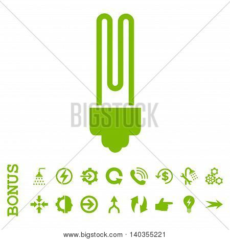 Fluorescent Bulb vector icon. Image style is a flat iconic symbol, eco green color, white background.