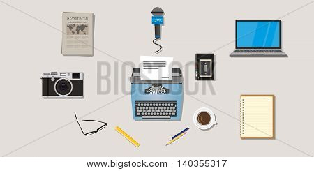 journalist press icon objects isolated vector camera type writer laptop microphone interview recorder note newspaper pen pencil vector