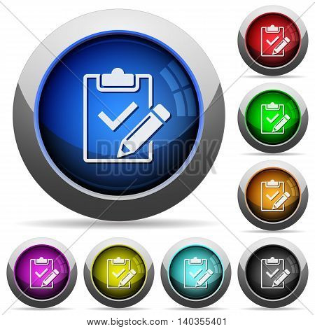 Set of round glossy Fill out checklist buttons. Arranged layer structure.