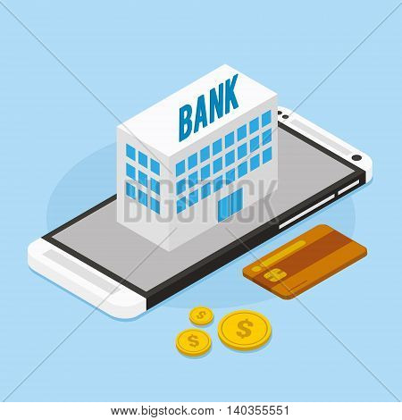 mobile banking with bank building vector illustration