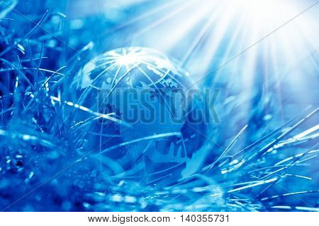 conceptual image of a glass globe