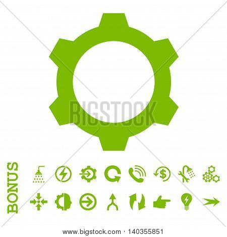 Gear vector icon. Image style is a flat pictogram symbol, eco green color, white background.