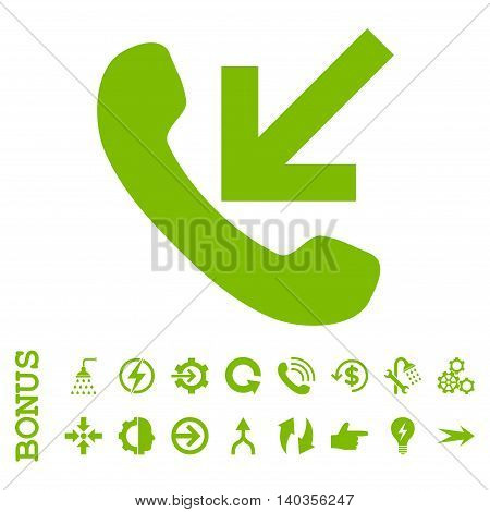 Incoming Call vector icon. Image style is a flat pictogram symbol, eco green color, white background.