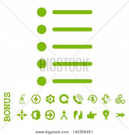 Items vector icon. Image style is a flat iconic symbol, eco green color, white background.