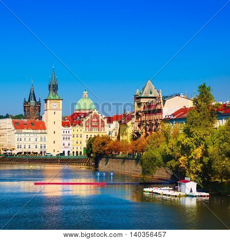 Prague Castle and Old City day view with blue sky, travel vivid autumn european background