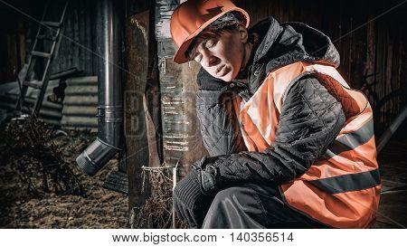 Sleeping Sitting Worker