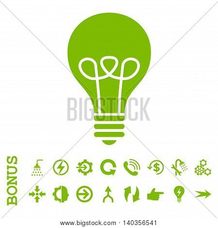 Lamp Bulb vector icon. Image style is a flat iconic symbol, eco green color, white background.