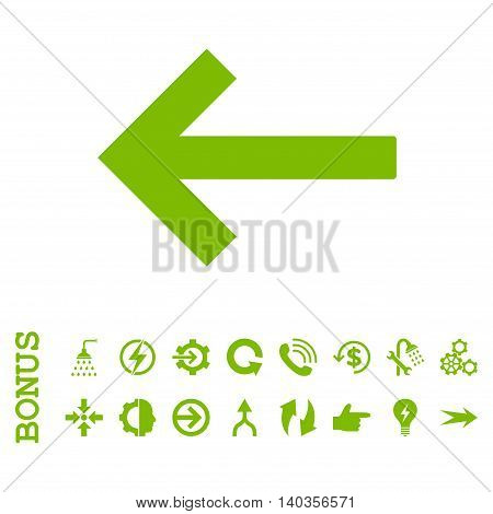 Left Arrow vector icon. Image style is a flat iconic symbol, eco green color, white background.