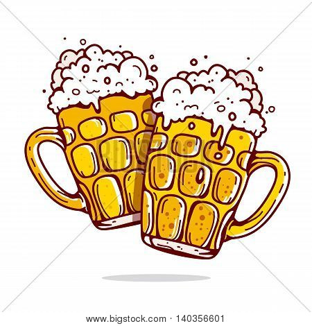 Two large mugs of beer. Vector illustration on white background drawn by hand.