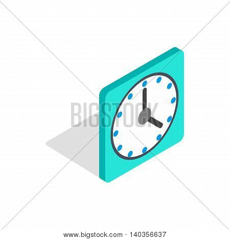 Square wall clock icon in isometric 3d style isolated on white background