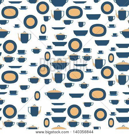 Seamless pattern utensil. Kitchen staff plates cups cutlery and tea set.