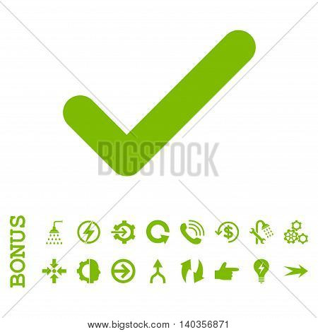 Ok vector icon. Image style is a flat iconic symbol, eco green color, white background.