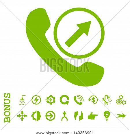 Outgoing Call vector icon. Image style is a flat pictogram symbol, eco green color, white background.