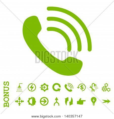 Phone Call vector icon. Image style is a flat pictogram symbol, eco green color, white background.