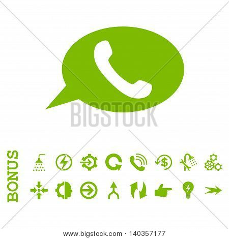 Phone Message vector icon. Image style is a flat iconic symbol, eco green color, white background.