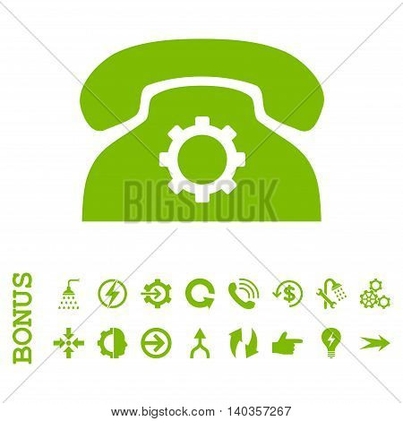 Phone Settings vector icon. Image style is a flat pictogram symbol, eco green color, white background.