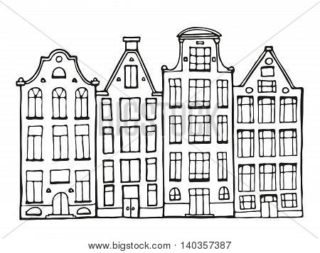 Hand Drawn Doodle Houses.
