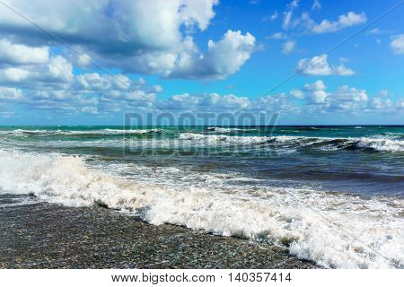 Stormy Black Sea and blue sky in Sochi Krasnodar region