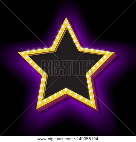 Realistic 3D star with neon lights. Lamps on a volume of vintage frame. Retro Star icon. Design element for your advertising banner. An empty black space ready for your text. illustration