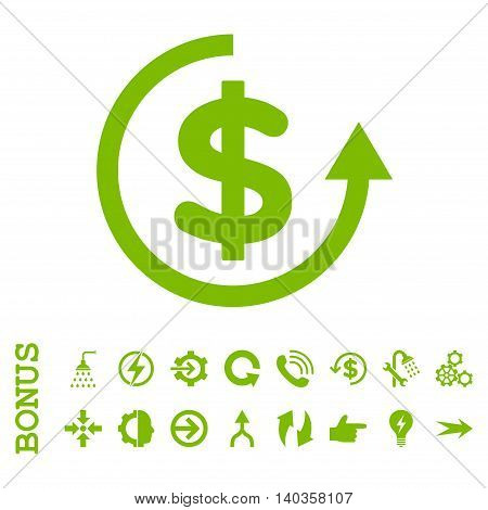 Refund vector icon. Image style is a flat iconic symbol, eco green color, white background.