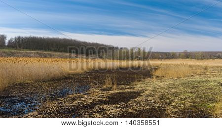Early spring panoramic landscape with flood-lands in Ukraine