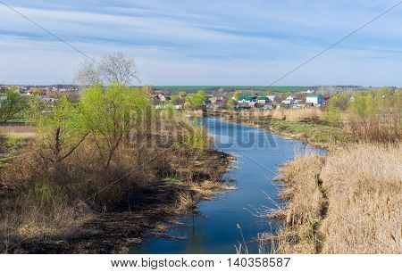 Early spring landscape with Ukrainian river Sura near Dnepropetrovsk city