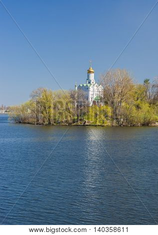 Landscape with an Orthodox church in Dnepropetrovsk city Ukraine - early spring season