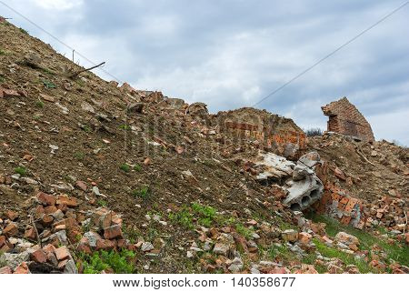 Adobe ruins on a hill in Ukraine