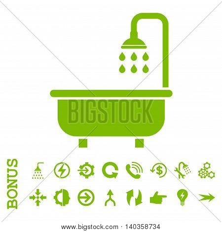Shower Bath vector icon. Image style is a flat iconic symbol, eco green color, white background.