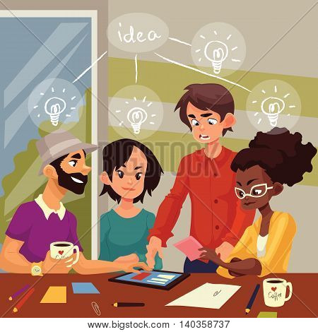 Young creative business people brainstorming ideas in office, sketch style vector illustration. Multiethnic group of young people having a brainstorm at the table. Teamwork, planning, creative process