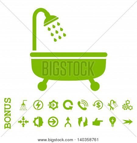 Shower Bath vector icon. Image style is a flat pictogram symbol, eco green color, white background.