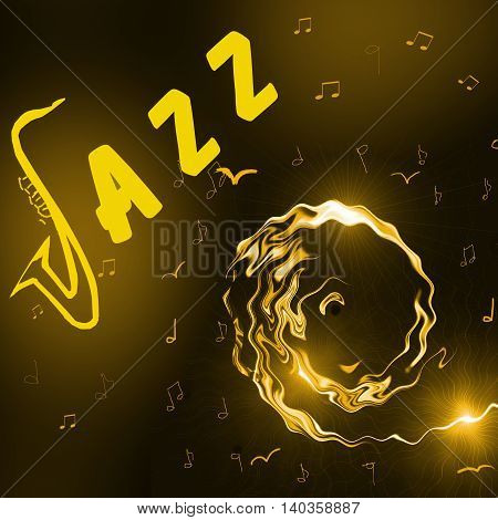 Jazz Music background with header silhouette of saxophone notes and stylised girl face - abstract illustration