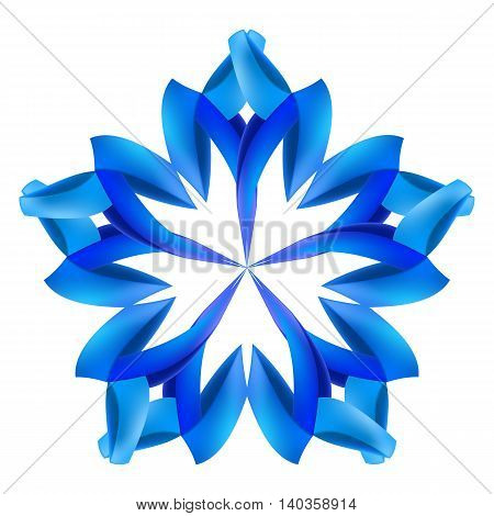 Ornate blue pattern made of paper or ribbons