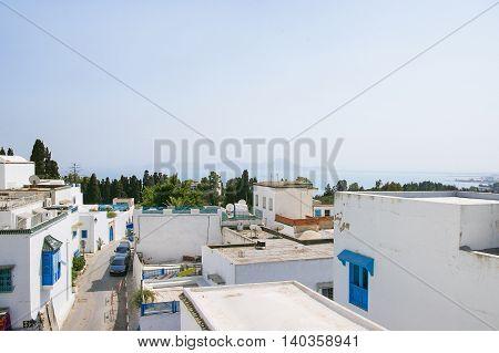 Traditional white and blue houses in Sidi Bou Said Tunisia.