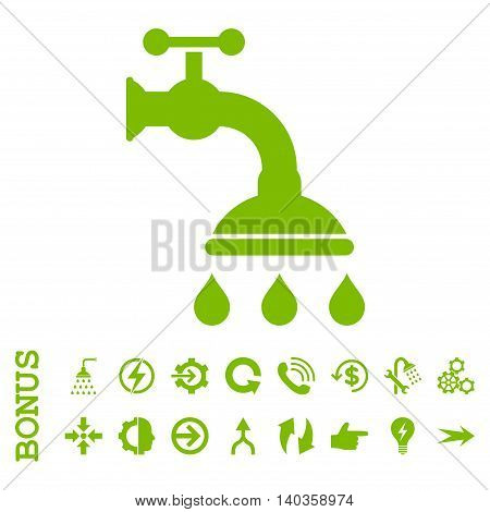 Shower Tap vector icon. Image style is a flat iconic symbol, eco green color, white background.