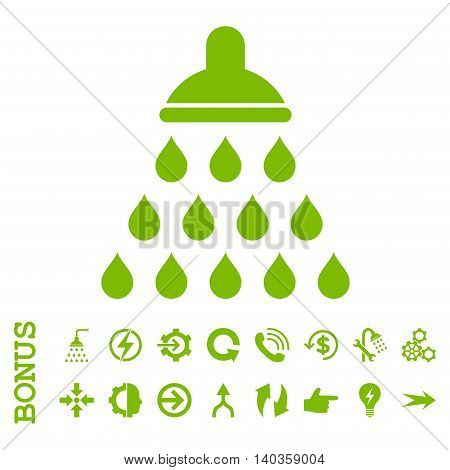 Shower vector icon. Image style is a flat pictogram symbol, eco green color, white background.