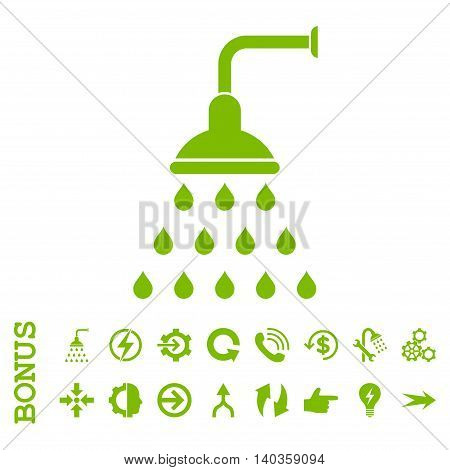 Shower vector icon. Image style is a flat iconic symbol, eco green color, white background.