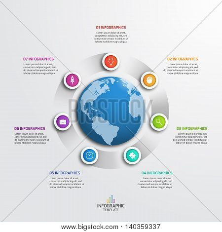 Circle Infographic Template With Globe With 7 Options. Business Concept. Vector Illustration.