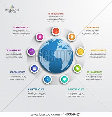 Circle Infographic Template With Globe With 9 Options. Business Concept. Vector Illustration.